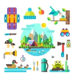 Set hike elements and icons flat vector