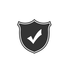 shield with check mark icon isolated flat design vector image