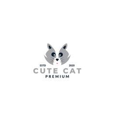 Silver cat face head cute logo design cartoon icon vector