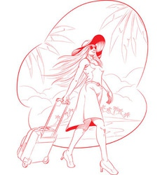 sketch woman tourist travelling with beach vector image