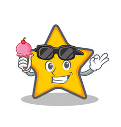 Star character cartoon style with ice cream vector