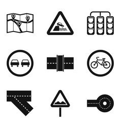 Street icons set simple style vector