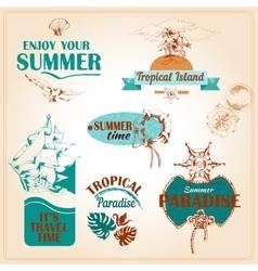 Summer vacation marine sea emblems set vector image