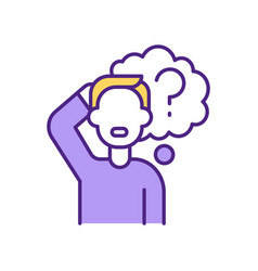 Surprised man with question mark rgb color icon vector