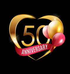 Template gold logo 50 years anniversary vector