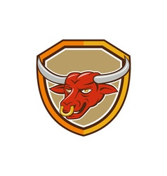 Texas Longhorn Red Bull Head Shield Cartoon vector