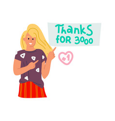 Thanks for 3000 blogger doodle happy character vector