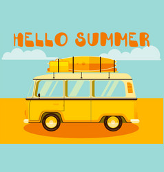 travel car hello summer vacation trip retro vector image