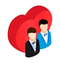 Two male and red heart isometric 3d icon vector