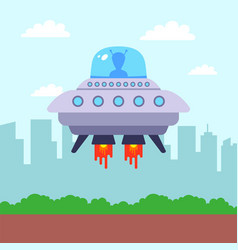 Ufo landed in park against backdrop the vector