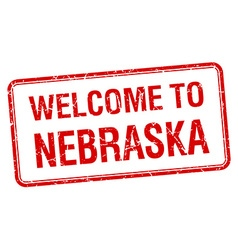 Welcome to Nebraska red grunge square stamp vector