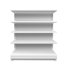 white supermarket shelves retail rack shop vector image