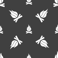 A fire icon sign Seamless pattern on a gray vector image vector image