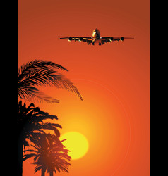 airliner on sunset sky vector image vector image