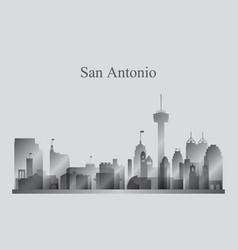 san antonio city skyline silhouette in grayscale vector image vector image