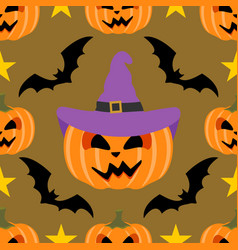 seamless halloween background with pumpkin vector image vector image