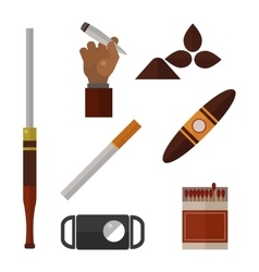 Smoking silhouette icons collection vector image vector image