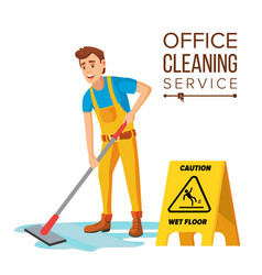 professional office cleaner janitor with vector image