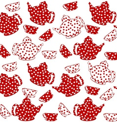 Seamless with red and white kettles and tea cups vector image vector image