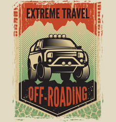 design template of poster in retro style with suv vector image