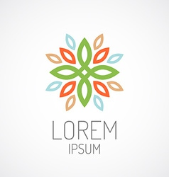 Floral logo template Color leaves ornament concept vector image