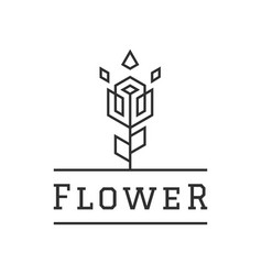 flower creative logo design linear style simple vector image