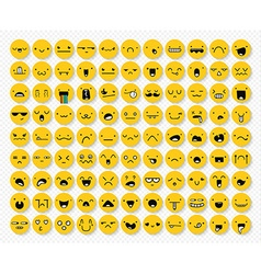 Great set 99 yellow emotions insulated with vector image
