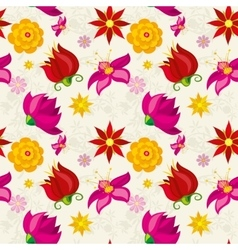 seamless pattern with flowers and floral vector image vector image