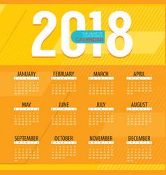 2018 modern colorful graphic printable calendar vector image