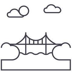 bridge line icon sign vector image
