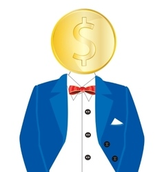 Golden coin instead of head vector image