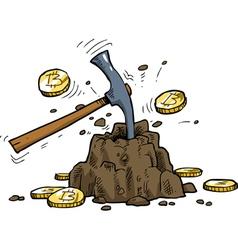 mining bitcoins vector image