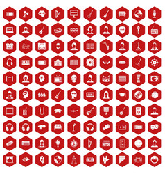 100 audience icons hexagon red vector