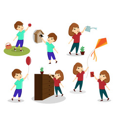 A set of images of children children play vector