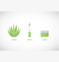 aloe vera skin care flat icons set vector image