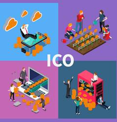blockchain ico isometric concept vector image