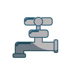 Blue line faucet closed to save water vector