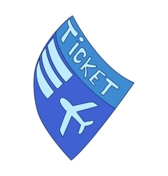 Blue plane ticket icon cartoon style vector image