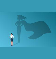 businesswoman with superhero shadow confident vector image