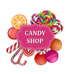 candy shop label concept banner realistic style vector image