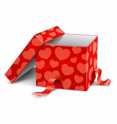 cardboard box with hearts vector image