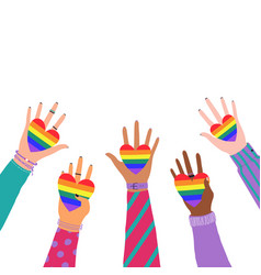 cartoon flat hands holding hearts with rainbow vector image