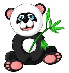 Cartoon happy panda holding bamboo vector image vector image