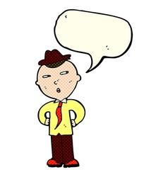cartoon man wearing hat with speech bubble vector image