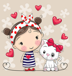 Cartoon white kitten and a girl in a striped dress vector