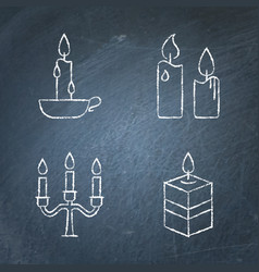 Chalkboard candle icons set in line style vector