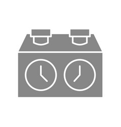 chess clock stopwatch timer gray icon board vector image