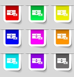 Chest icon sign Set of multicolored modern labels vector