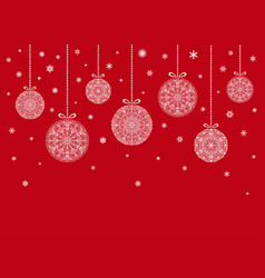 Christmas balls hanging on red background vector