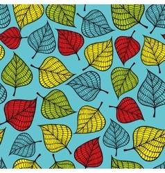 Colorful seamless pattern with leaves on blue vector